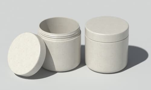 Sustainable fully degradable cosmetic jars without microplastic